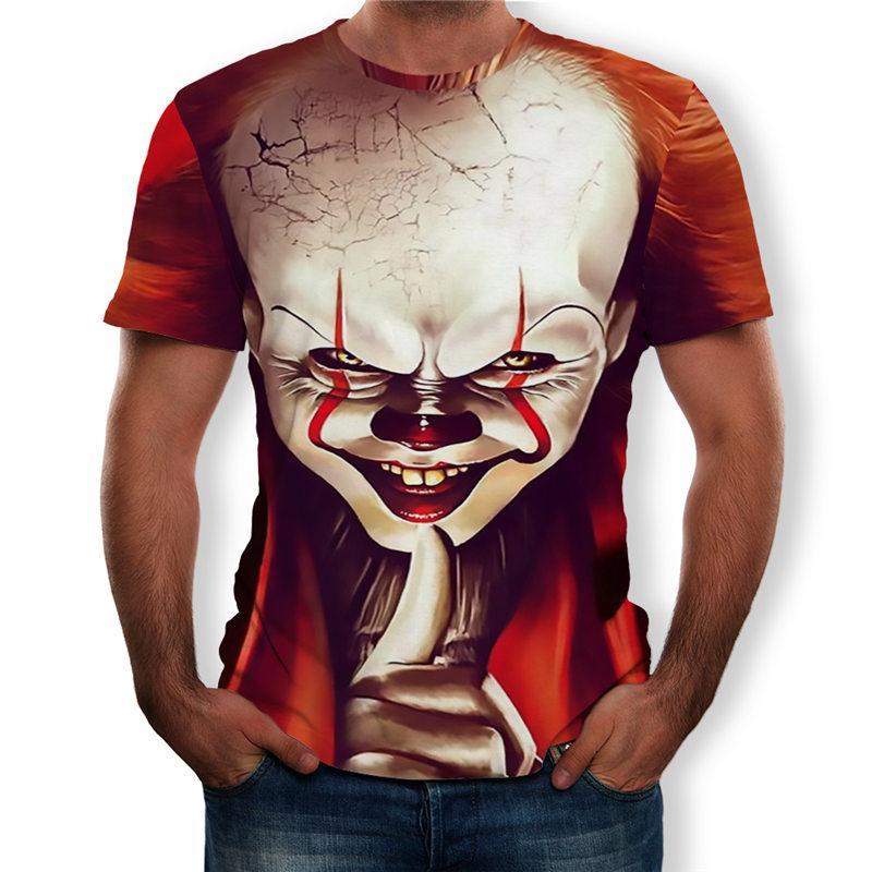 2019 Verão Nova T-shirt Engraçado Halloween Horror Palhaço Roupas Estilo Punk 3d Tops de Impressão Digital de Curta T-shirt Rua Grande Size6XL