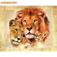 CHENISTORY Lions Familie 60x75cm Rahmen DIY Malerei Durch Zahlen Moderne Wand Kunst Bild Färbung Durch Anzahl Tiere für Wohnkultur