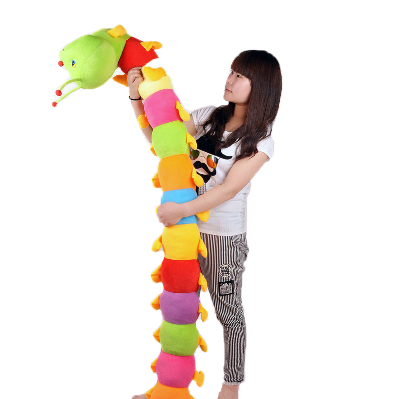 Super Large Cute Colorful Caterpillars Pillows Stuffed Toys Children Dolls Soft And Lovely Have Good Quality For Free Shipping