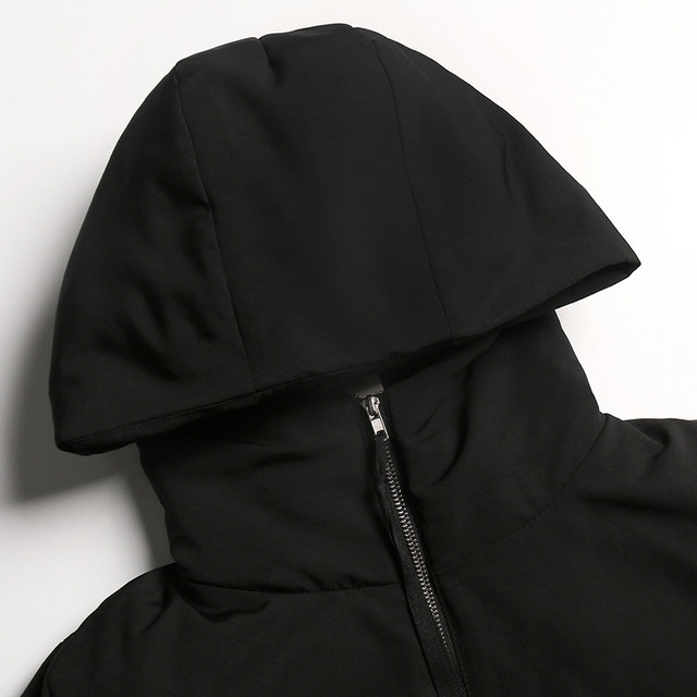 [EAM] Black Big Size Hooded Cotton-padded Coat Long Sleeve Loose Fit Women Parkas Fashion Tide New Autumn Winter 2019 1H886 38