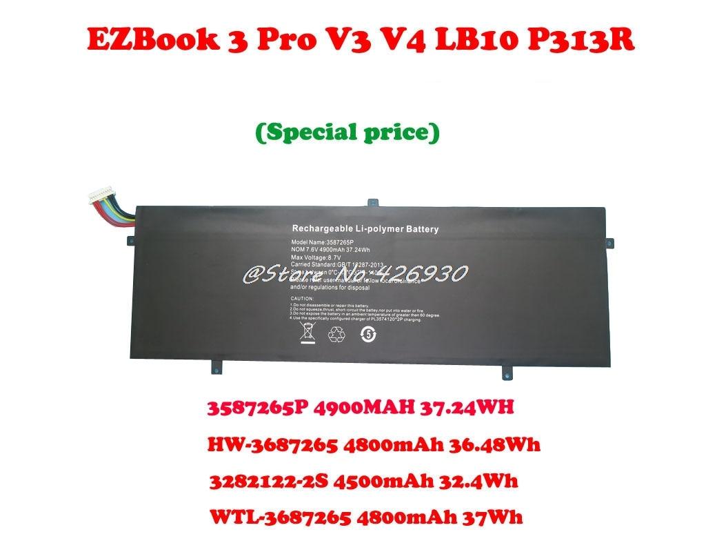 Battery For Jumper EZBook 3 Pro V3 V4 LB10 P313R 3282122-2S 4500mAh 32.4Wh WTL-3687265 HW-3687265 3587265P 3585269P
