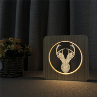 Spotted Deer Head Animal 3D Wooden LED Lamp Table Light Switch Control Carving Lamp for Children's Room Decoration Dropshipping