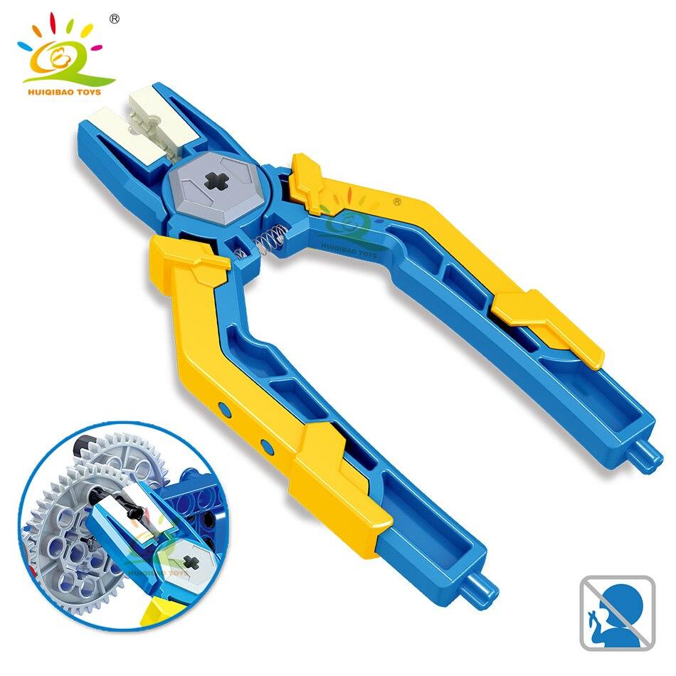 HUIQIBAO Technic Series Demolition Of Blocks Pin Pliers Tongs Tool Parts Device Bricks Educational DIY Toys For Children Boys