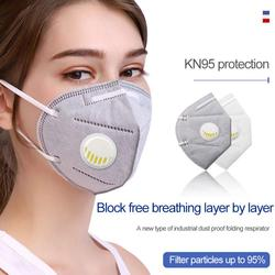 Máscara Kn95 de 6 capas con válvula de respiración equivalente a máscaras de polvo FFP2 con máscara facial valvada, lote de protección facial antipolvo