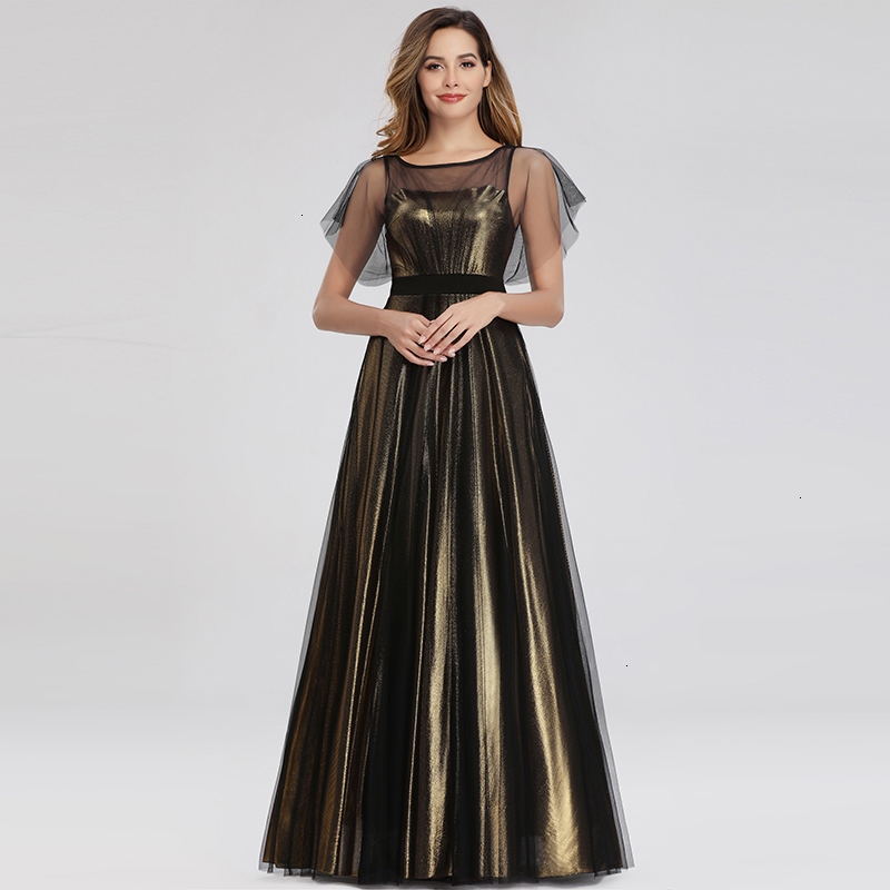 Vintage Gold Evening Dresses Long A-Line O-Neck Reffles Sleeve See-Through Tulle Elegant Formal Party Dresses Vestido De Festa