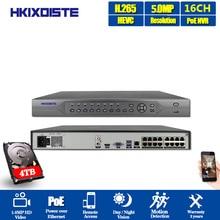 HKIXDISTE 4K 16CH H.265 CCTV POE NVR 48V 16Channel*5MP/ 8 Channel*4K Surveillance CCTV Network Video Recorder Audio P2P ONVIF