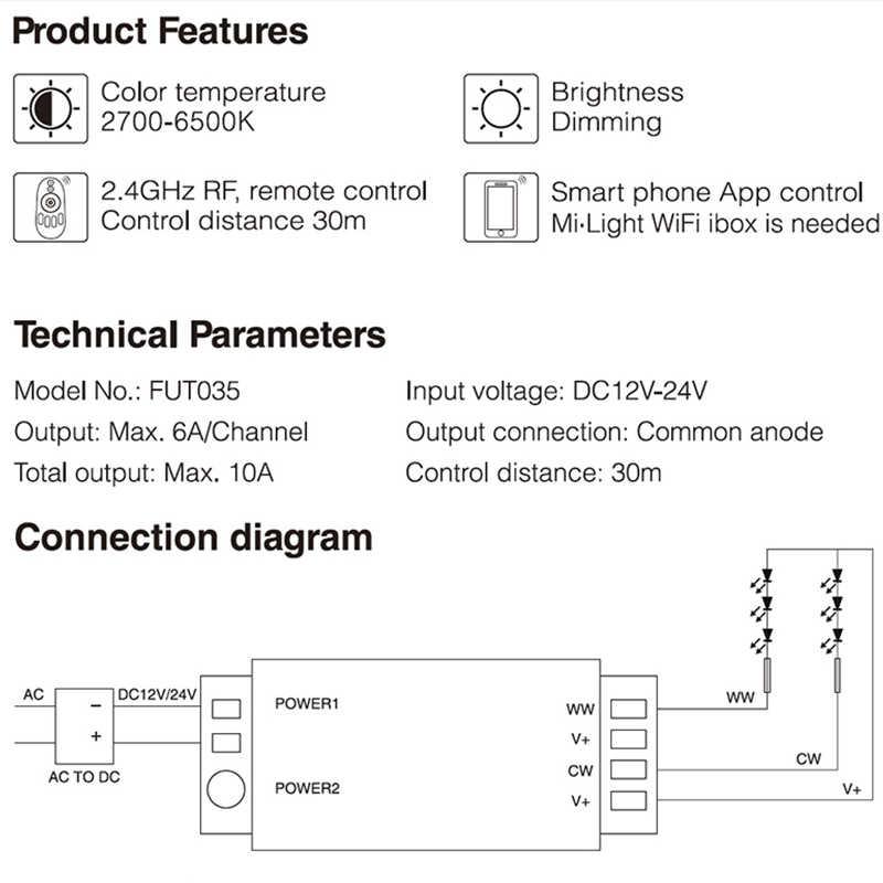 Mi luz 2,4G mando inalámbrico de radiofrecuencia 4 Zone Color temperatura CCT controlador RGB RGBW controlador Dimmer para la tira de lámpara LED