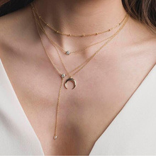 European Fashion Gold Beads Collar Long Necklaces Multilayer Punk Crystal Moon Pendant Choker Necklace Clavicle Chain Jewelry