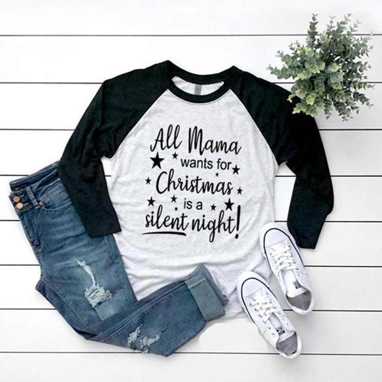 2019 אמא חג המולד ליל כל הקדושים תיקון T חולצה מקרית Femme מלא ארוך שרוול Harajuku בייסבול tshirts ליידי למעלה טי בתוספת גודל