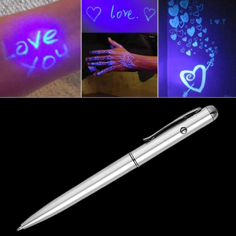 UV Ultraviolet LED Light Magic Invisible Ink Ballpoint Pen Magic Invisible Pen With Ultraviolet Invisible Write Detective 30N18