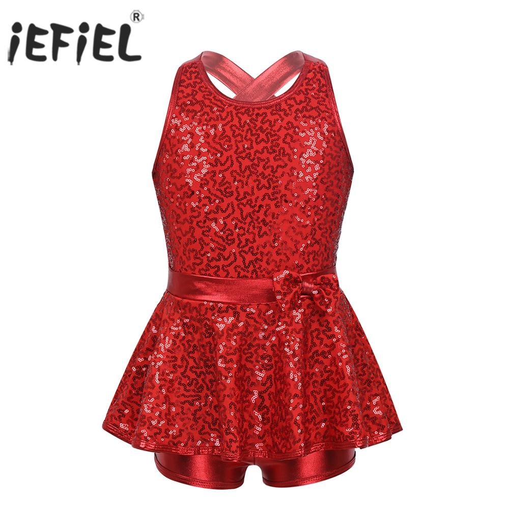 iEFiEL Girls Kids Active Athletic Set Dance Sport Outfits Sequins Tank Top and Booty Short Gymnastics Dancing Clothes