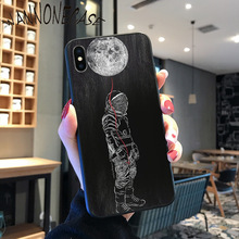 WANNONECASE funny Space Love Moon Astronaut Black Soft  Phone Cover For iPhone 8 7 6 6S Plus X XS MAX 5 5S SE XR 11 11pro promax newest space moon astronaut coque shell phone case for iphone 8 7 6 6s plus x xs max 5 5s se xr 11 11pro promax cellphones
