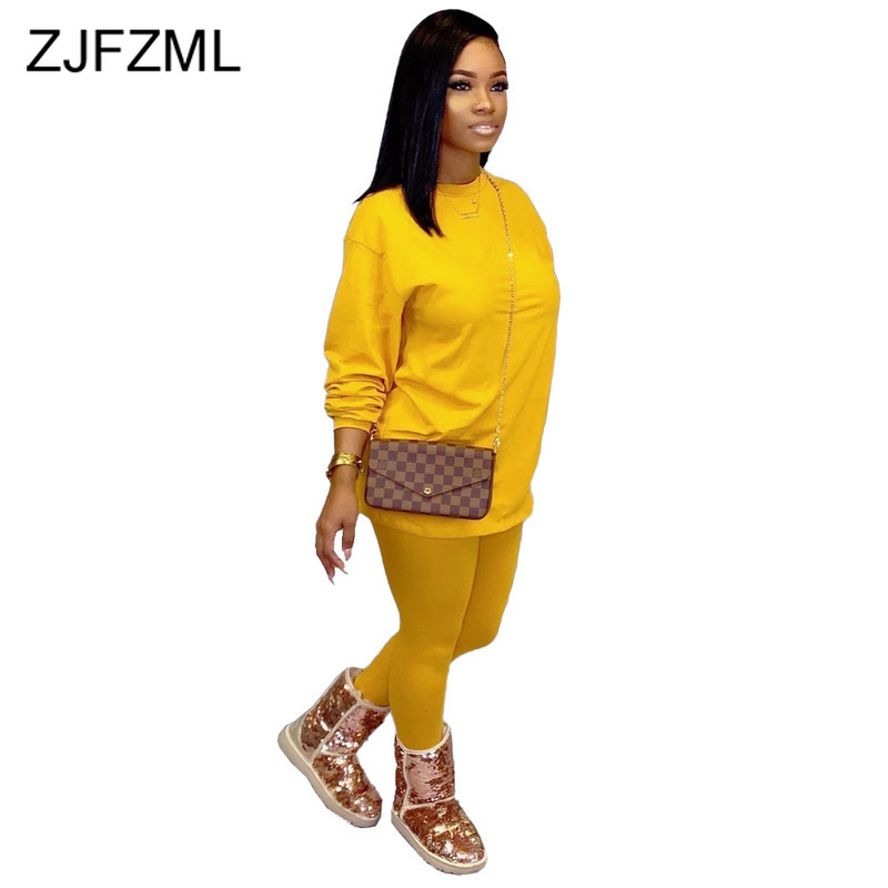 Causal Candy Color 2 Piece Set Womens Clothing O-Neck Full Sleeve Loose Long T Shirt And Pencil Pants Two Piece Matching Set