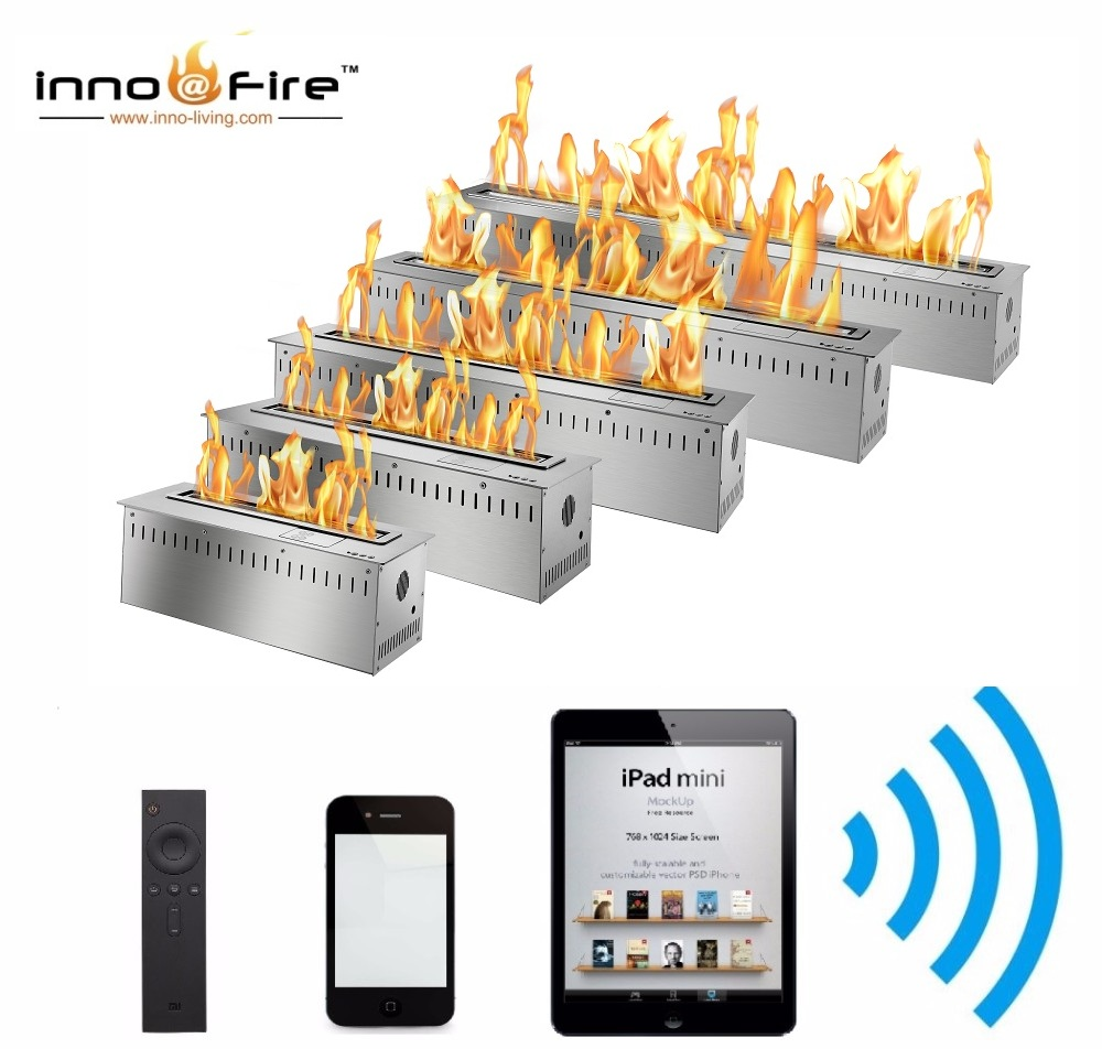 Inno Living Fire 72 Inch Stainless Steel Black Silver Automatic Bio Ethanol Fireplace