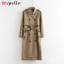 Long Trench Coat for Women 2019 Winter Elegant Double Breasted Chic OL Solid Turn-down Collar