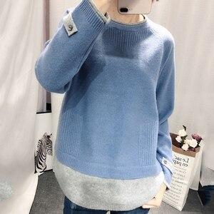 Image 2 - Giả Hai Cashmere Áo Len Nữ Cổ Tròn Chui Đầu Mùa Thu Đông Hàn Quốc Mới Rời Áo Len Lông Cừu Lười Gió Áo Len thủy Triều