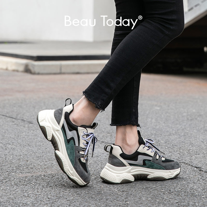 BeauToday Chunky Sneakers Women Genuine Cow Leather Mesh Round Toe Cross-Tied Mixed Colors Lady Casual Dad Shoes Handmade 29341