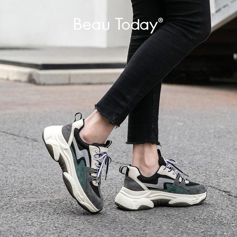 BeauToday zapatillas gruesas mujeres cuero genuino de vaca de malla de punta redonda cruzada colores mixtos señora Casual zapatos de papá hechos a mano 29341