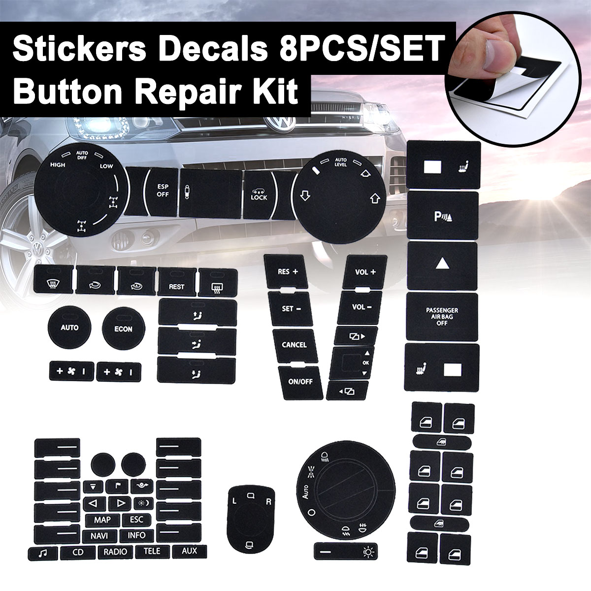 8pcs Car Stickers For Volkswagen Touareg 04-09 For VW Steering Wheel Windows Headlight Climate Switch Worn Button Repair Decals