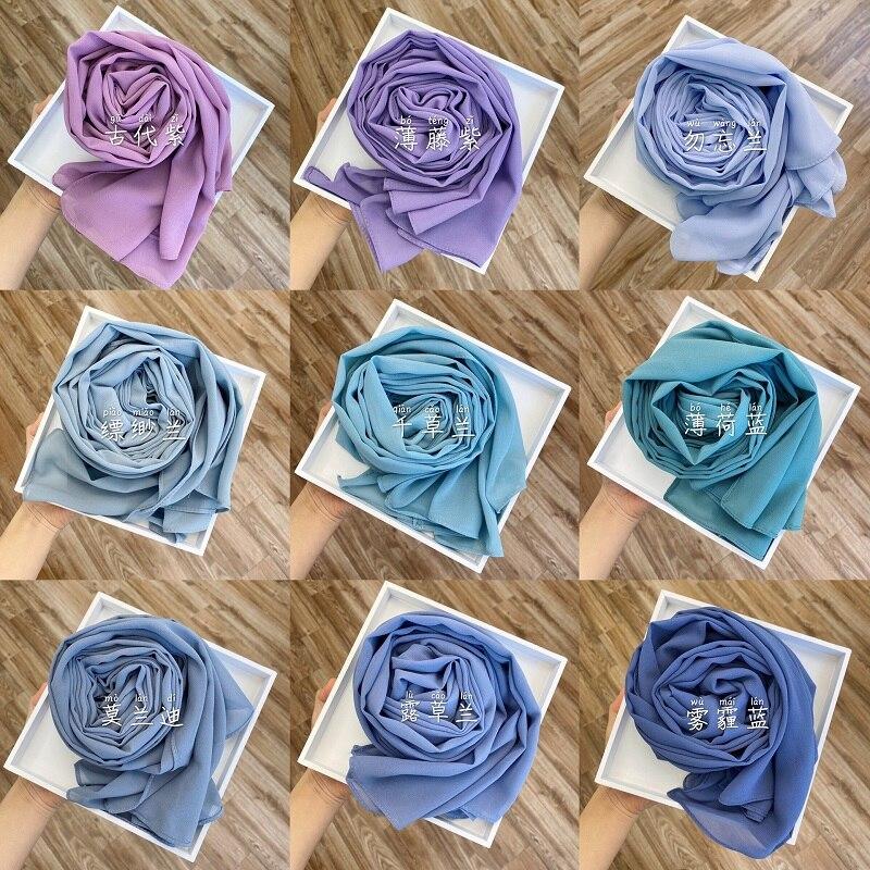 Premium Chiffon Hijab Indonesia Scarf Muslim Headscarf Wrap Solid Color Long Shawls Headband Islamic Underscarf Dropshipping