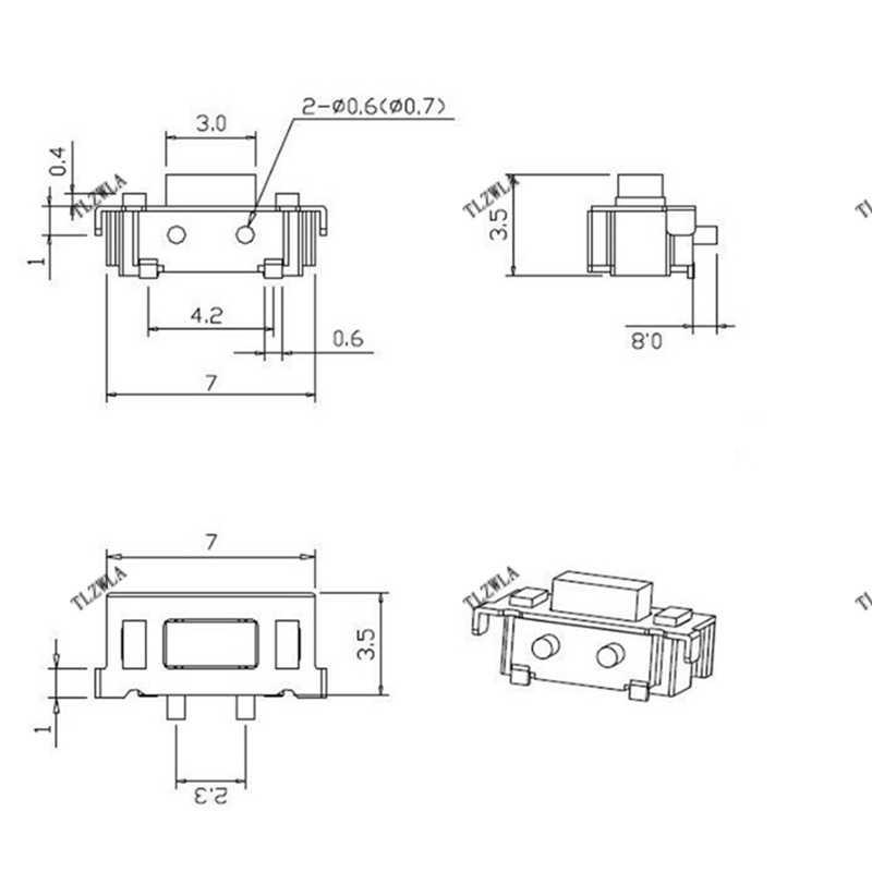 100 sztuk Micro Tact przełącznik dotykowy 3*6*3.5 3x6x3.5 SMD dla MP3 MP4 Tablet PC przycisk Bluetooth zestaw słuchawkowy pilot