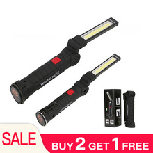 LED Portable Flashlight USB Torch Work Light Magnetic Rechargeable COB Hanging Hook Outdoor Auto Car Repair NEW