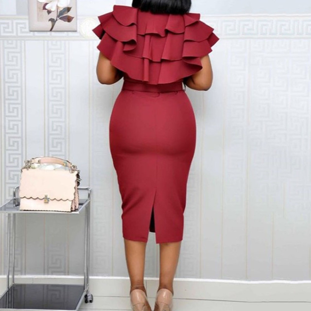 Butterfly Sleeve Cascading Ruffles Classy Dress 6