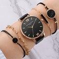 5PCS Set Top Stil Mode frauen Luxus Leder Band Analog Quarz Armbanduhr Damen Uhr Frauen Kleid Reloj Mujer schwarz Uhr