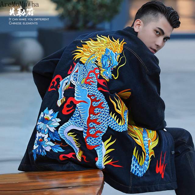 Kirin Denim Embroidered Cotton Clothes In The Long Section of Denim Loose Winter Cotton Shirt Jacket Jacket National Trendy Men