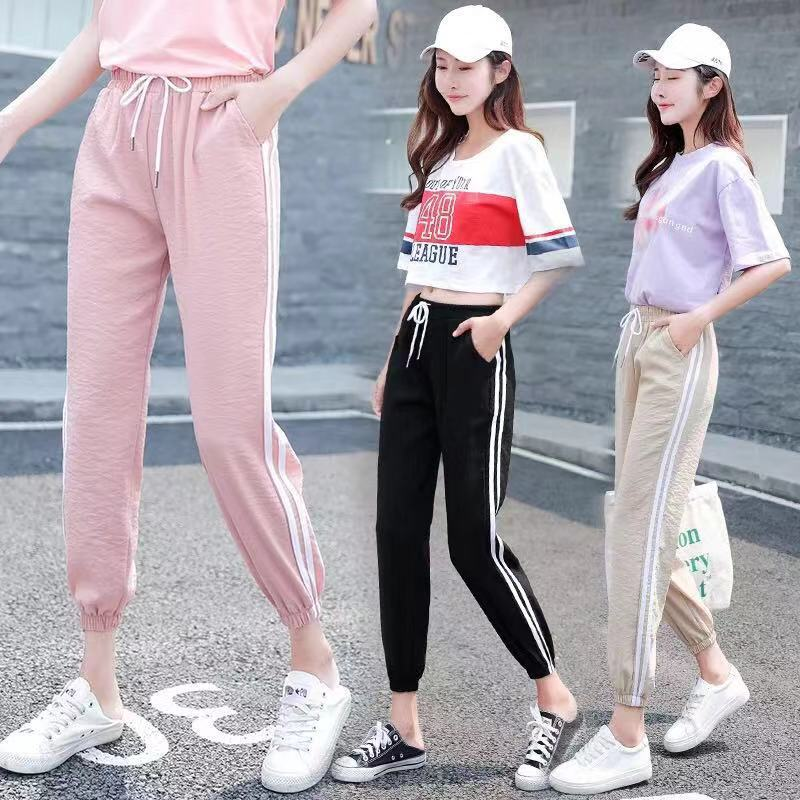 2020 Spring Casual Sweatpants Pants Side-Stripe Women Loose Elastic Waist Sportswear Women's Harem Pants New Trousers