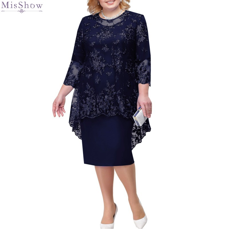 Cocktail     Dresses   Knee Length 2020 Plus Size Short Formal Party Gown 2019 Lace Half Sleeve robe coctail