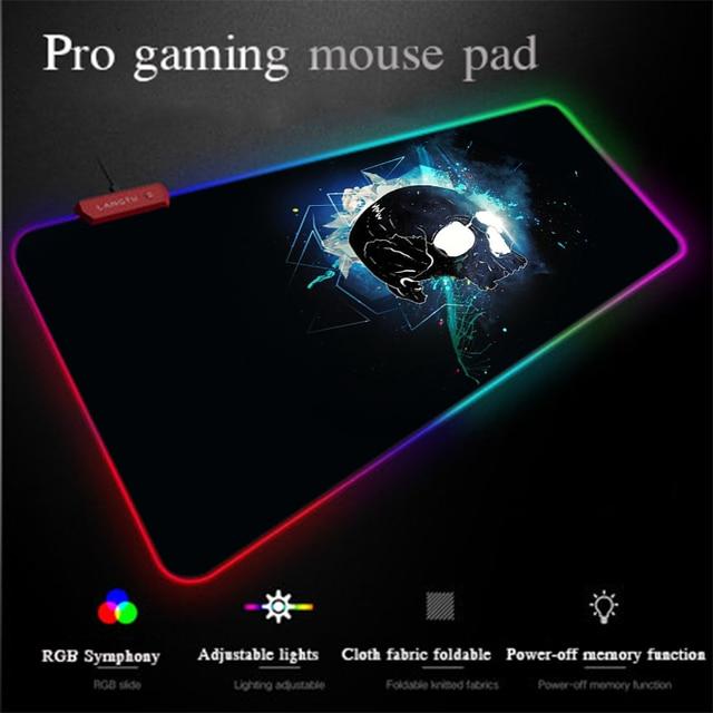 Yuzuoan XXL di Programmazione Del Computer Del Computer Mouse Pad USB LED di Illuminazione Variopinta Del Cranio HD RGB Gaming Mouse Pad antiscivolo universale