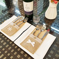 Christmas Burlap Lace Holder Silverware Napkin Holders Cutlery Pouch Knife Fork Cover Bag For Wedding Party Table Setting Decor