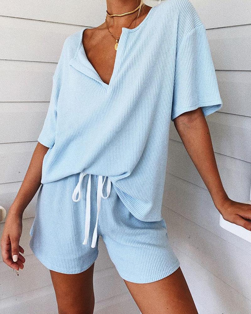 Rib Two-Piece Lounge Pajamas Set Women Rib Two-Piece Lounge Set Loungewear Women Homewear