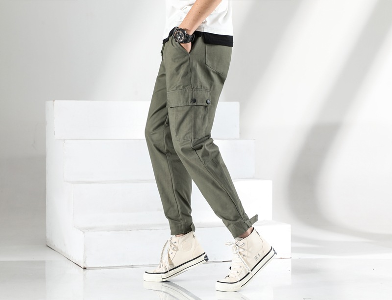 Pants Men's Autumn Casual 9 Pants Men's Popular Brand Bib Overall Korean-style Loose-Fit Harem Ankle Banded Pants Capri Pants