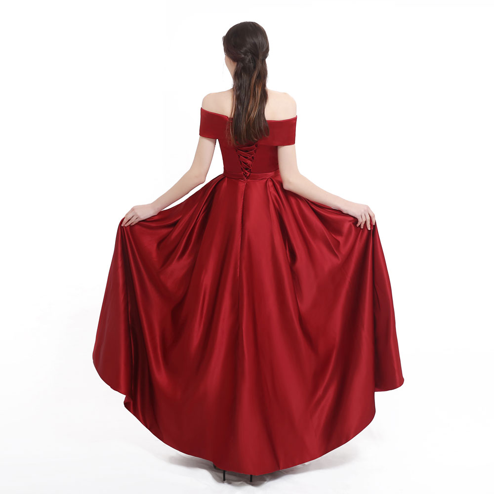 New arrival Burgundy evening Dress Formal vestido noiva sereia prom party robe de soiree luxury frock sexy side slit pockets 2