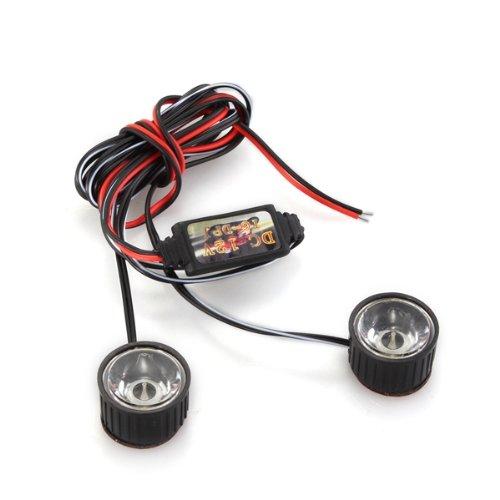 ABKT- White 2 LED Flashlight Strobe Warning Light Strobe Light Brake 3W