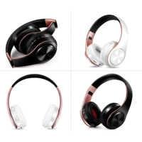 Neue ankunft!! Shinning Gold farben Bluetooth Kopfhörer Wireless Stereo Headsets ohrhörer mit Mic/TF Karte