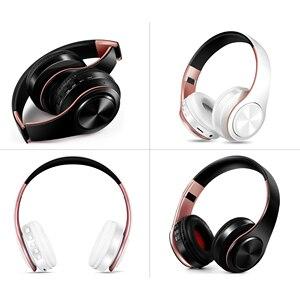 Image 1 - ¡Recién llegado! Auriculares Bluetooth en color oro brillante, auriculares inalámbricos estéreo con micrófono y tarjeta TF
