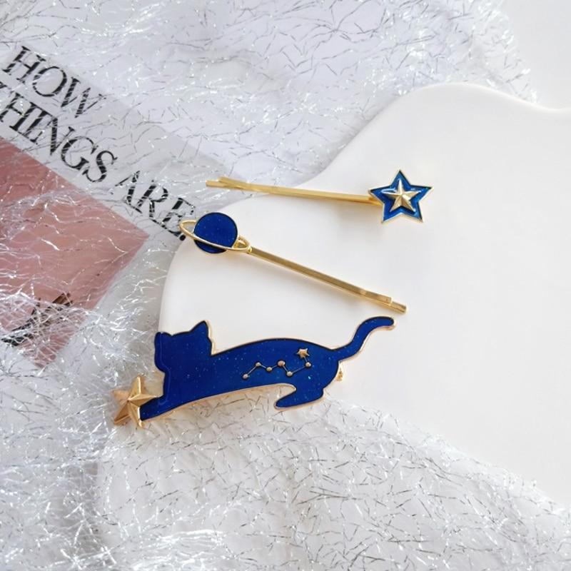 HZ 2019 Japan New Lovely Sweet Metal Glitter Starry Sky Star Cat Hair Clip Hair Pins Hair Accessories For Women Girl Kids