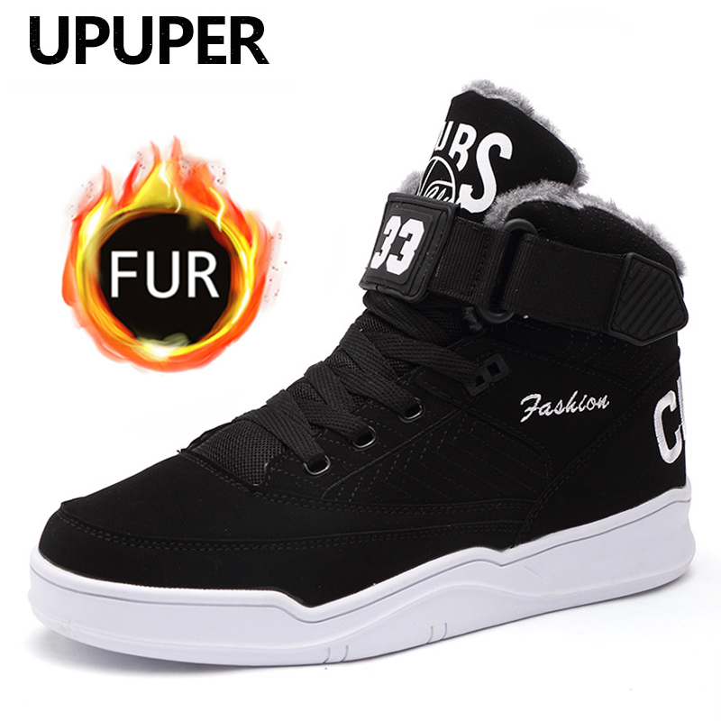 UPUPER Fashion Men's Winter Boots Shoes Men Comfortable Plush Warm Sneakers For Man Shoes With Fur High Top Snow Ankle Boots