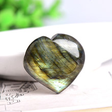Natural Crystal Bright Halo Labradorite Heart shape Pendant Gift Rock Mineral Specimen Healing Stone Mineral Jewelry Heart Shape