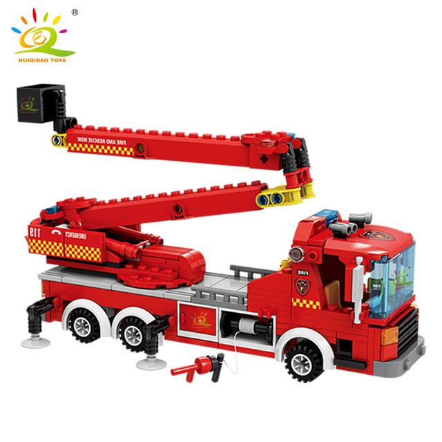 HUIQIBAO 400pcs City Fire Ladder truck model Building Blocks kit Fireman 2 Figures Bricks DIY Construction Toys for Children