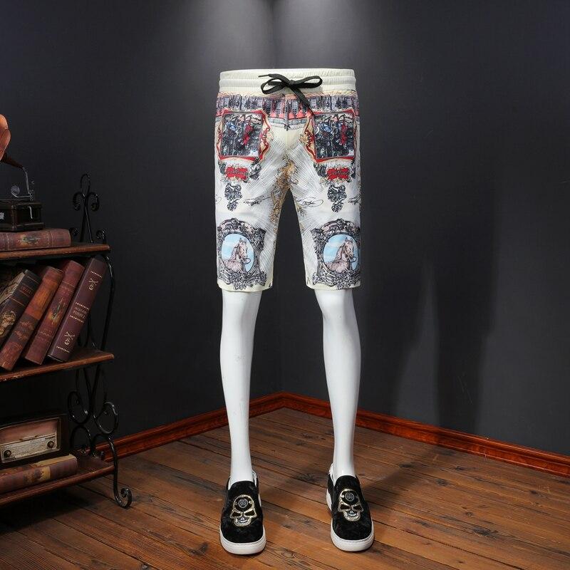 2020 Retro Print Casual Shorts Men Summer Bermuda Masculina Breathable Streetwear Slim Business Social Shorts Plus Size M-4XL