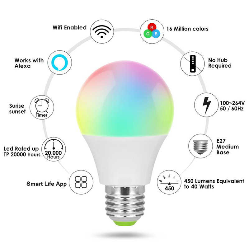 E27 Smart Lamp Alexa Voice Control 5-Way Smart Rgbcw Lamp Wifi Bluetooth Rgb Led Lamp Smart Home Automation modules