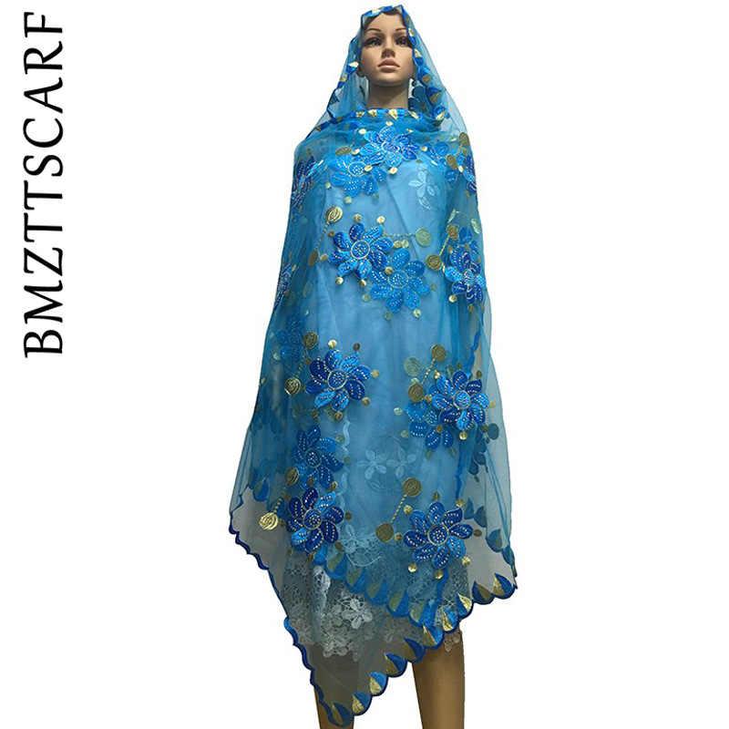 New African Syal Muslim Polos Bordir Wanita Jaring Besar Syal untuk Selendang Pashmina BM478