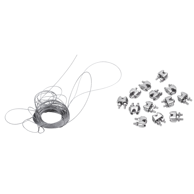 SHGO HOT-12Pcs 2mm 1/16 Inch Stainless Steel Wire Rope Cable Clamp Fastener & 1Pcs STAINLESS Steel Wire Rope Cable Rigging Extra