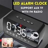 LED Digital Alarm Clock Wireless bluetooth Stereo Speaker LED Display Music Sound Box with Mirror Alarm Clock Desk Clock