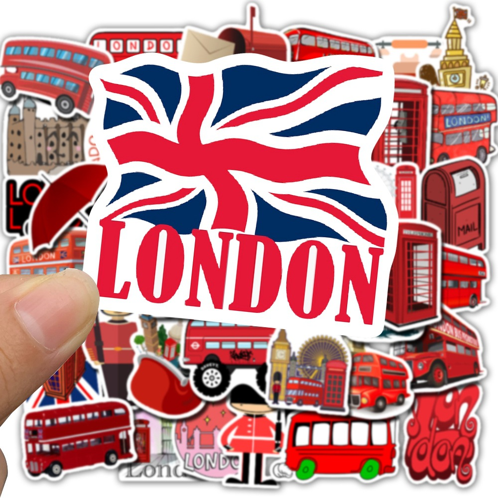 50 Pcs/Lot Waterproof London Red Bus Telephone Booth PVC Stickers for Laptop Motorcycle Skateboard Luggage Decal Toy Sticker