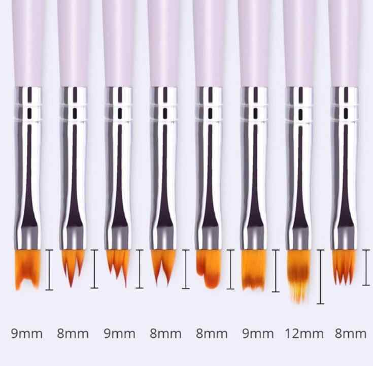 Professional Nails Art Brush Pen Painting Flowers Manicure Foundation Petal Pattern UV Gel Sawtooth Design Pen Wood Pole Brushes